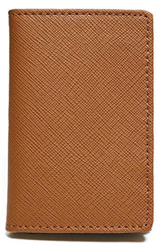 ブラウン 紳士 本革 牛革 メンズ レディース 薄型 名刺入れ カード入れ 定期入れ カードケース 名刺ケース パスケース たくさん入る 男性 女性 大容量 ふたつ折り 革 皮 ビジネス 折れない 紳士 1030090-F-011