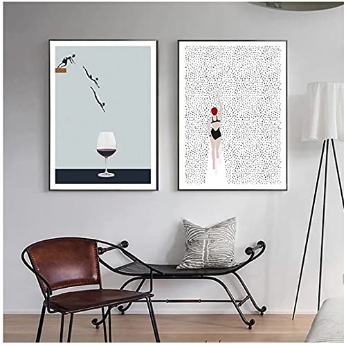 JLFDHR Póster Nórdico Abstracto, Pintura En Lienzo De Copa De Vino, Cuadros Artísticos De Pared para Decoración De Sala De Estar-40X60Cmx2 Sin Marco