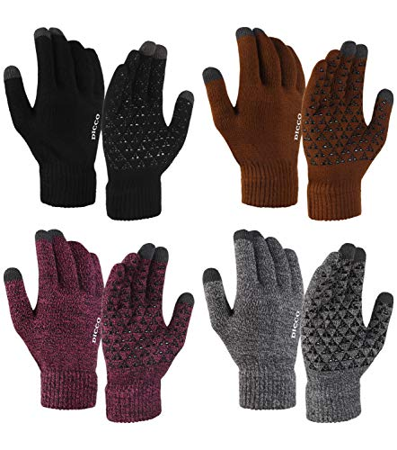 Winter Knit Gloves Touchscreen fingers Anti-Slip Warm Elastic texting smart phone Gloves for Women and Men 4Pairs (4PARIS-(Black+Coffee+ Rose Red+Grey), Large)