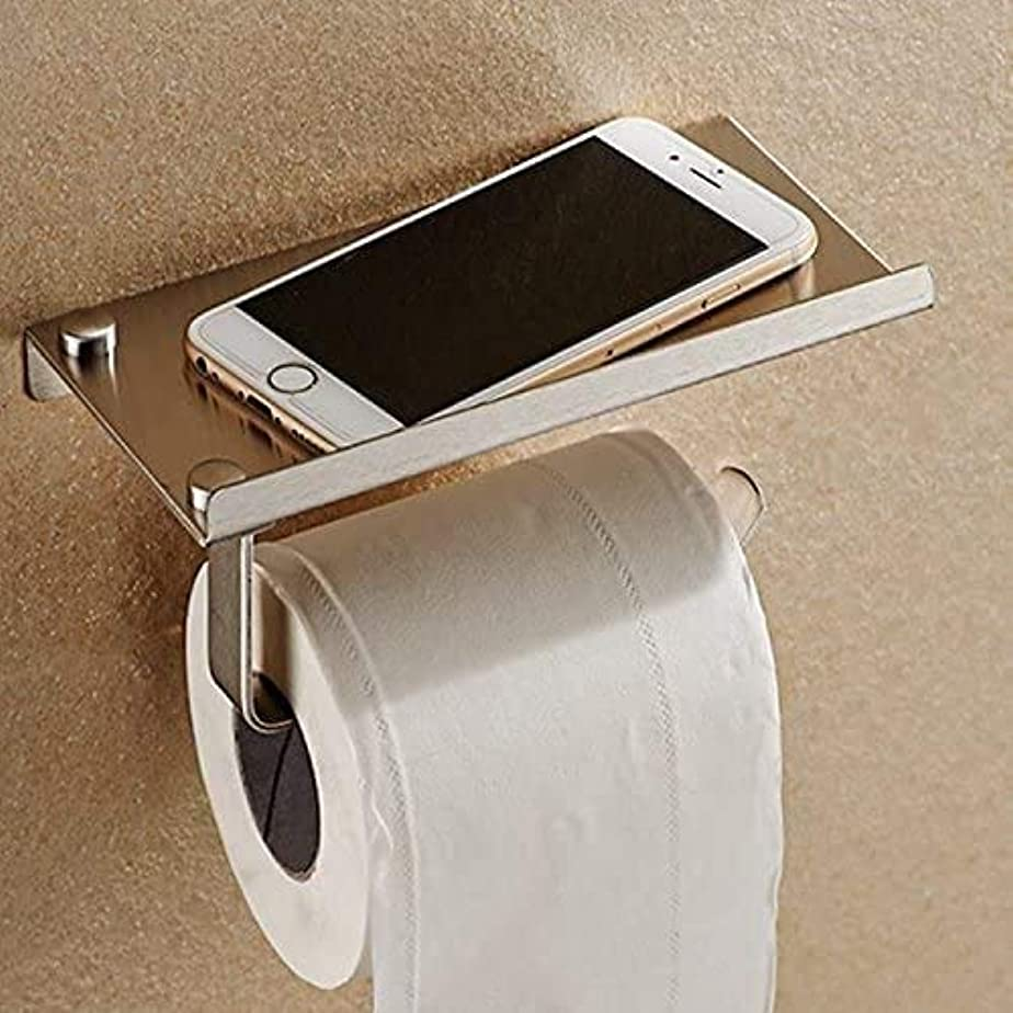 タイムリーな絶対の懇願するトイレットペーパーホルダーは、ウォールマウント浴室のトイレットペーパーホルダーラックティッシュロールステンレス鋼と機動電話ホルダースタンドスタンド
