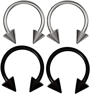 Baosity 4pcs 16G Stainless Steel Horseshoe Bar Nose Eyebrow Septum Ear Rings