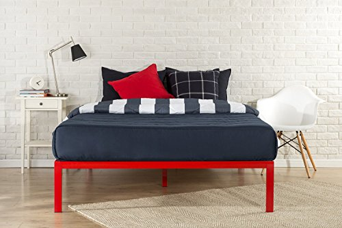 Zinus Modern Studio 14 Inch Platform 1500 Metal Bed Frame/Mattress Foundation/no Boxspring needed/Wooden Slat Support/Good Design Award Winner, Red, Queen