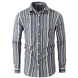 JEEGAL Men's Printed Cotton Casual Long Sleeve Regular Fit Dress Shirt