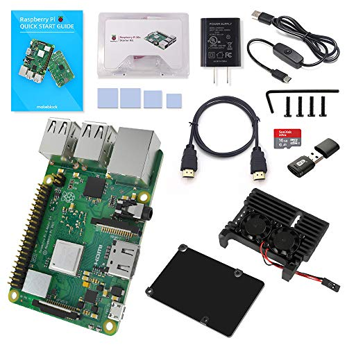 Makeblock Raspberry Pi 3 B+ Starter Kit with Model B+ Motherboard, 16GB Micro SD Card Pre-Loaded with Noobs, 5V 3A On/Off Power Supply, Aluminum Black Case with 2 Fans, HDMI Cable, SD Card Reader