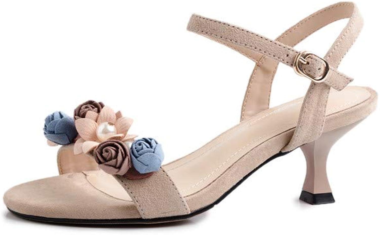 ELFY Fashion Heeled Sandals Elegant Flower Summer Dress Sandals