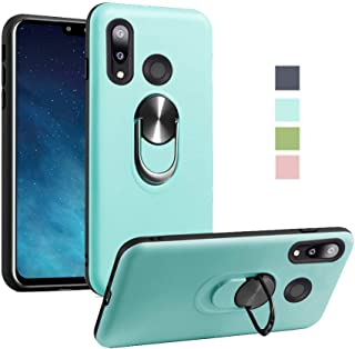 for Huawei Y9 2019 Case Heavy Duty Soft Silicone 360 Rotating Metal Ring [Fit Magnetic Car Mout] Kickstand Shockproof Protection Compatible with Huawei Y9 2019 (Light Blue)