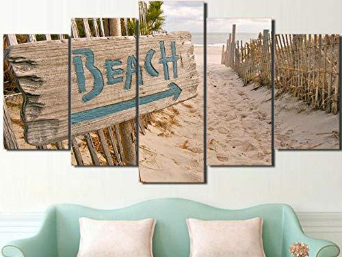 IMXBTQA Cuadros Decor Salon Modernos 5 Piezas Lienzo Grandes XXL Murales Pared Hogar Pasillo Decor Arte Pared Abstracto Cerca De La Playa del Océano del Mar HD Impresión Foto 150X80Cm Regalo