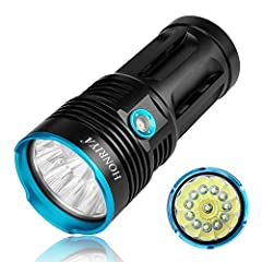 🎃 Super Bright: utilise 12* XML-T6 LEDs,max output up to 10000 lumens,provides super bright light. 🎃 High Quality:Bright LED flashlight-the plam sized light was constructed from aircraft grade aluminum alloy with premium Type III hard -anodized. 🎃 Th...