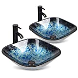 Bathroom Sink and Faucet Combo - Artistic Tempered Glass Vessel Sink Basin Washing Bowl Set, Cabinet Countertop Sink with Chorme Faucet Pop-up Drain and Water Pipe Lavatory (Ocean blue set of 2)