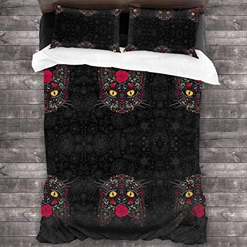Butlerame Sugar Skull Cat Bedding Sheet 3-Pieces Set Duvet Cover Pillow Cases