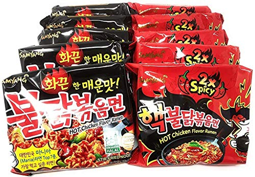 Samyang Top Two Spicy Chicken Hot Ramen noodle Buldak Variety 10 pack (5 each:Hek Nuclear,Original)