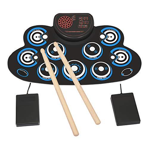 Elektronisches Schlagzeug Set 9 Pads Elektrische Trommel Tragbares Kinder, Anfänger Schlagzeug E-drum mit eingebaute Lautsprecher und Sticks für Weihnachten und Geburtstag (Blau)