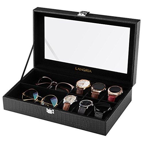 LANGRIA Uhren und Brillen 8 Aufbewahrungsbox mit deckel abschließbar Uhrenbox Uhrenkoffer Uhrenkasten, schwarz