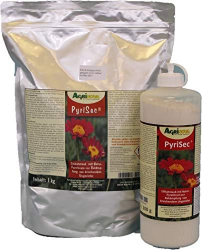 PyriSec Kieselgur/Pyrethrum Kombination 1 kg - hoch wirksam gegen alle Milbenarten & hygieneschädlinge, Kakerlaken, Wanzen, Ameisen u.v.m.