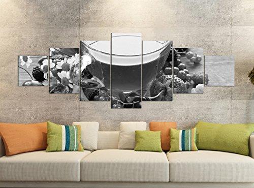 Canvas foto's 7-delig 280x100cm zwart thee mok vruchten thee fruit bessen keuken canvas afbeelding delen delen kunstdruk druk wandafbeelding meerdelig 9YB2240 ca. 280cmx100cm