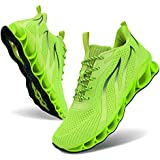 Mens Running Fashion Sneakers Stylish Non-Slip Athletic Walking Tennis Blade Shoes Fluorescent Green Size 12