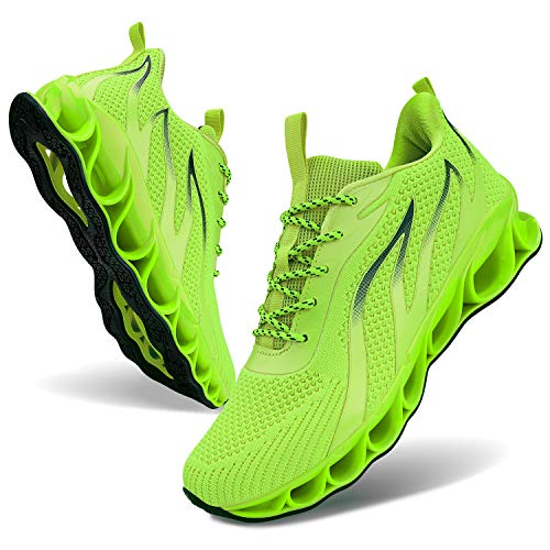 MOSHA BELLE Track Shoes Mens Distance Walking Male Sneakers Athletic Casual Low Top Field Racing Shoes Fluorescent Green Size 10.5