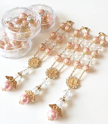 YRP 12 Baptism Pink/Gold Angel Favors Bracelet Party Favors Bautizo Recuerdos Angel Bracelet