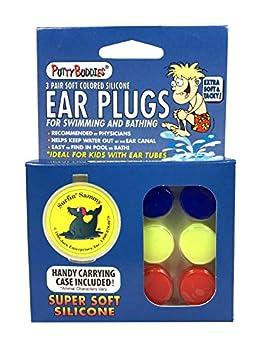 Putty Buddies Original Swimming Earplugs 3-Pair Pack  Red/Blue/Yellow