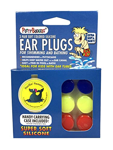 Putty Buddies Original Swimming Earplugs, 3-Pair Pack (Red/Blue/Yellow)