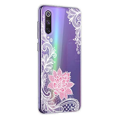 Oihxse Mandala Motif Case Compatible pour Samsung Galaxy S10E/S10 Lite Coque Transparente Silicone TPU Souple Protection Etui Ultra Slim Mehndi Floral Datura Dentelle Housse Bumper (A6)