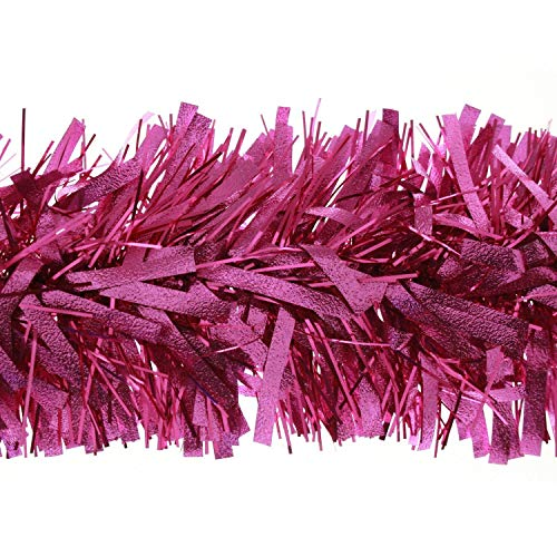 SHATCHI 1.8m/6Ft Deluxe Thick Chunky Wide Hot Pink Shiny Tinsel Garland Christmas Tree Decorations