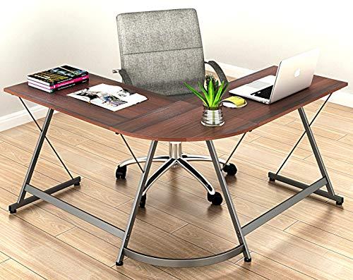 L-Shaped Desk Gaming Desk Corner Computer Table, Walnut (Home)