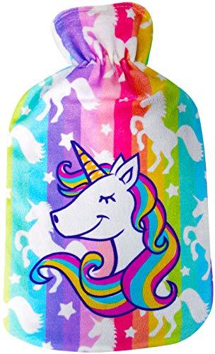 Wärmflasche mit schönem Fleece-Einhorn-Druck, weicher Bezug, hochwertiger Naturkautschuk, 2 Liter Wärmflasche, hilft Wärme und Komfort