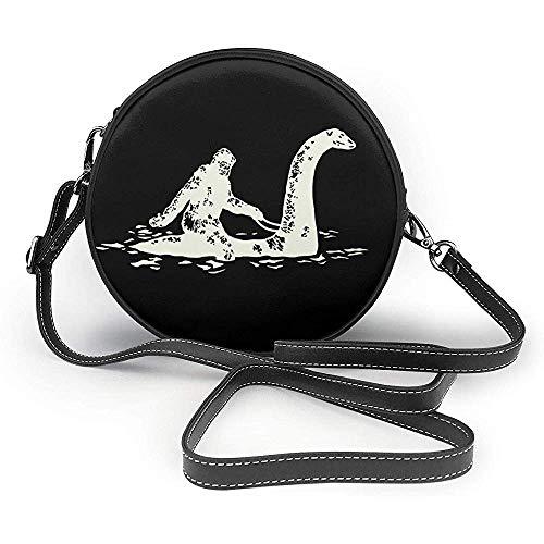 TURFED Bigfoot Sasquatch Reiten der Loch Ness Monster Mode Runde PU Crossbody Handtasche Runde Umhängetasche für Frauen Mädchen