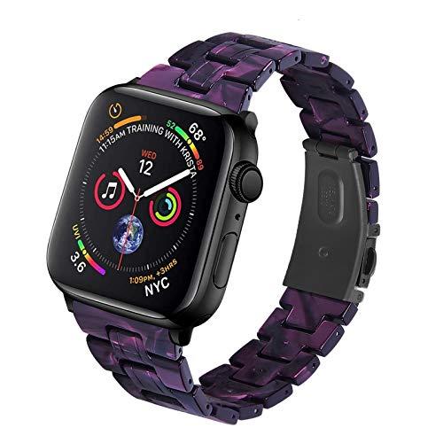 Fhony Correa de Resina Compatible con Apple Watch Correa 38mm 40mm 42mm 44mm Banda de Repuesto Pulsera con Hebilla de Acero Inoxidable para Iwatch Series SE/6/5/4/3/2/1,Purple Light,38/40mm