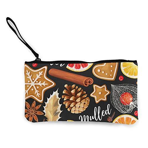 Monedas de lona, naranja y especias, bolso de vino con cremallera, bolsa de cosméticos de viaje multifunción, bolsa de maquillaje para teléfono móvil, paquete de lápices con asa