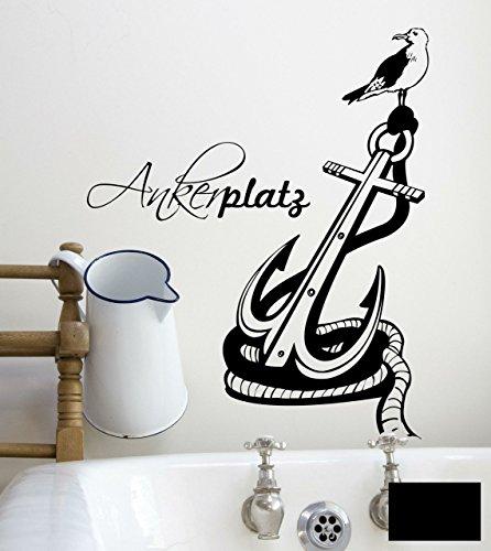 Wandtattoo Ankerplatz Anker maritim zuhause M1472 - ausgewählte Farbe: *Schwarz* ausgewählte Größe: *S 60cm breit x 74cm hoch