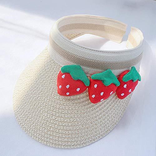 Tony plate Sombrero para el Sol para bebé Lindo Sombrero de Paja de Verano con Tapa vacía Gorra para niños y niñas Sombrero para el Sol para niños de 2 a 6 años-Beige_52cm