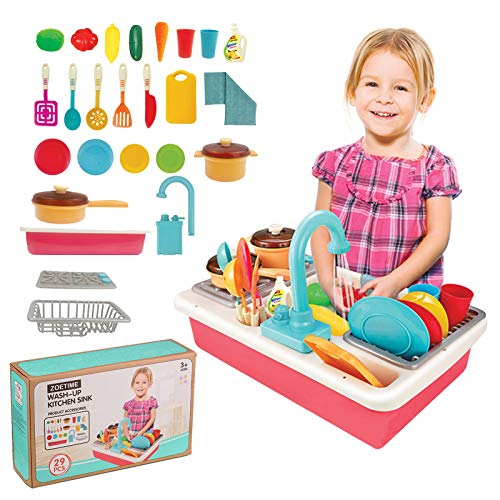 Zoetime Playset Toddler Wash up Play Kitchen Sink with Running Water Pump Faucet Electric Dishwasher Dish Cooking Pot Pan Utensils Play Food Pretend Table Toys for Independent Boys Girls 2 3 4 5 6 7 8