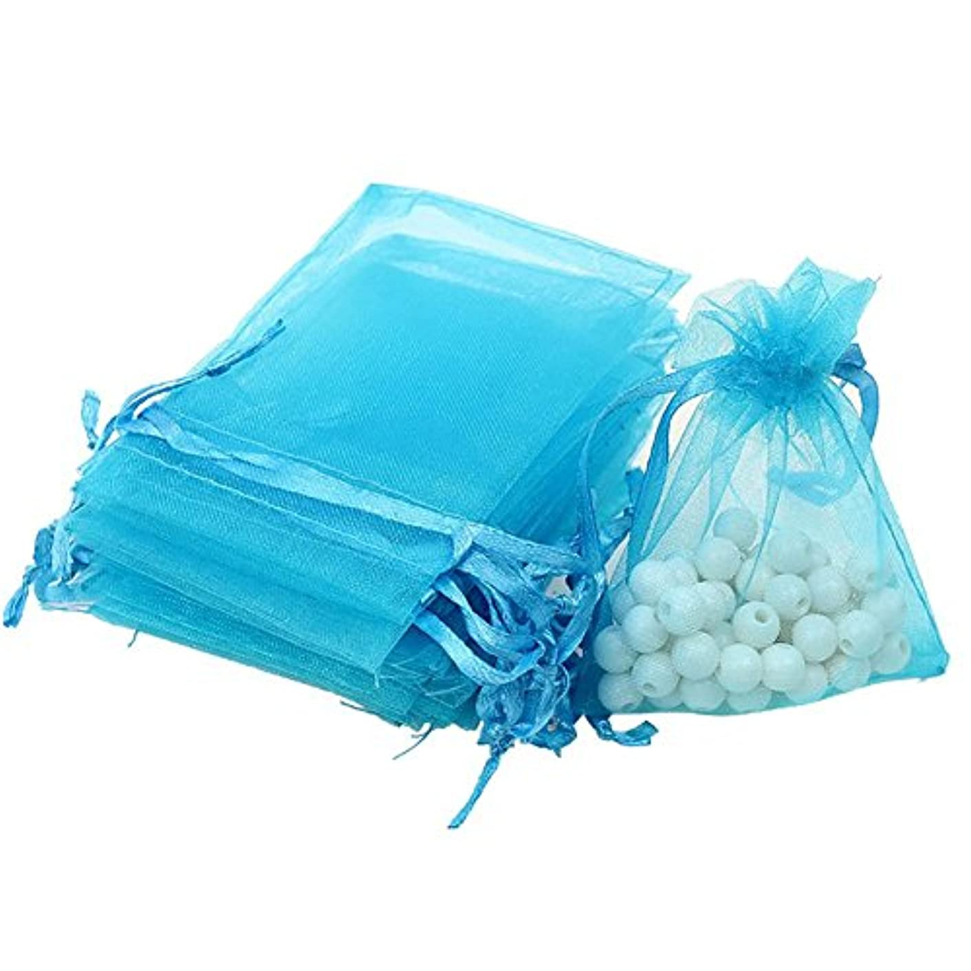 Dealglad 50pcs Drawstring Organza Jewelry Candy Pouch Christmas Wedding Party Favor Gift Bags (3x4, Lake Blue)