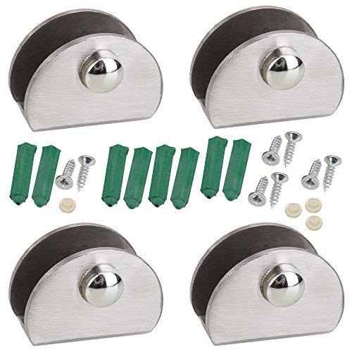 Acero inoxidable de plata de la mitad Ronda de vidrio Clamp vidrio Clip Clip Soporte para estante (4unidades)