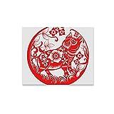 LONGYUU Wandkunst Malerei Runde Design Chinesisches Sternzeichen Jahr Drucke Auf Leinwand Das Bild Landschaft Bilder Öl Für Zuhause Moderne Dekoration Druck Dekor Für Wohnzimmer