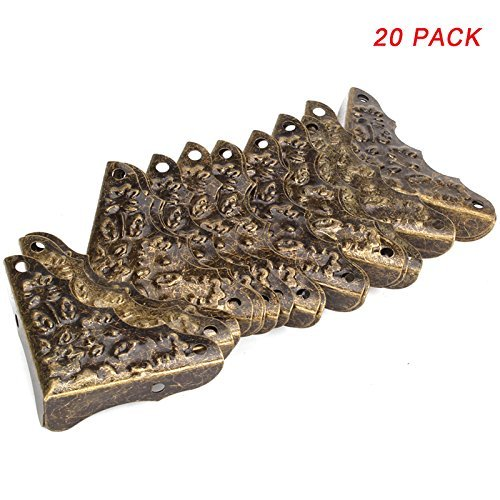 Ogrmar Ogrmar 20 Pcs/Set Vintage Antique Bronze Decorative Corner Protectors Guards Desk Edge Cover (as picture show)