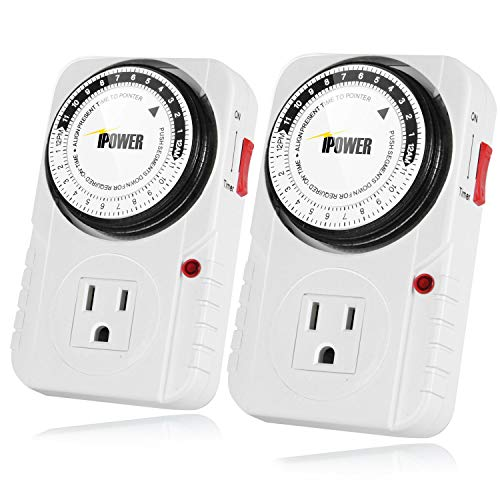 iPower 24 Hour Plug-in Mechanical Electric Outlet Timers Switch Programmable Indoor, Accurate Heavy Duty 3-Prong for Lamps Fans Christmas String Lights, AC 1725W 1/2 HP, UL Listed, 2 Pack