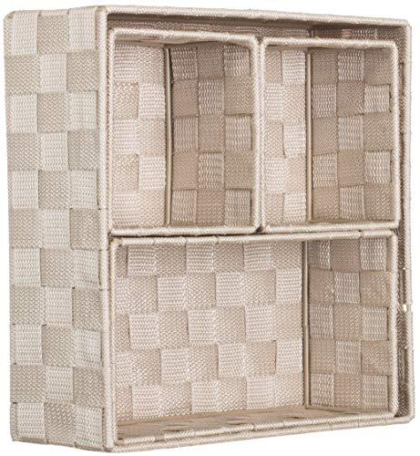 Brandsseller, contenitore decorativo portaoggetti, effetto rattan/intrecciato, set da 4 pezzi beige.