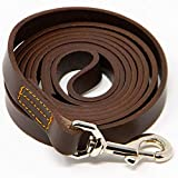 Logical Leather 6 Foot Dog Leash - Best for Training - Best Water Resistant Heavy Full Grain Leather Lead - Brown