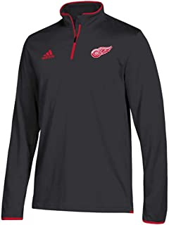 new style b2e52 59968 adidas Men s Detroit Red Wings NHL Authentic 1 4 Zip Pullover