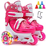 HAOXU Kids Quad Roller Skate Roller Patines de Rodillo de 3 Puntos Zapatos de Rodillo para niñas con tamaño Ajustable Doble Frenos Luminosas Ruedas