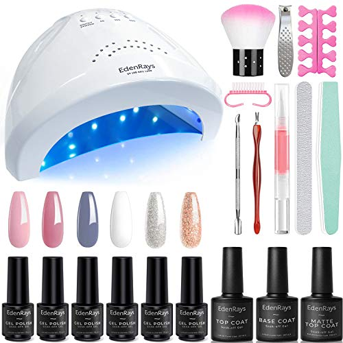 EdenRays Gel Nail Polish Kit with UV Light 48W/24W 6 Color amp Platinum Gel with Related Tool Set Set2
