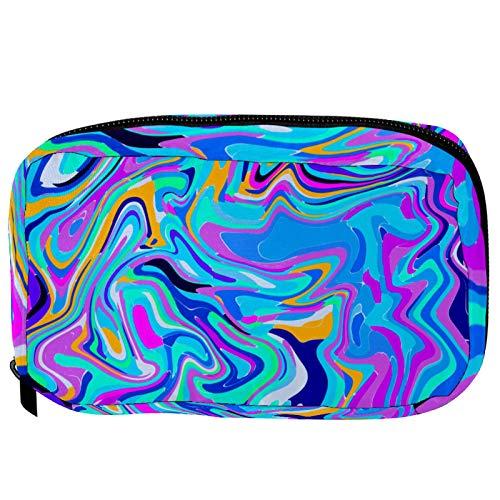 Make-up Taschen Tragbare Reise Kosmetiktasche Organizer Multifunktionskoffer Grüner Blauer Mint-digitaler Marmorierer mit Reißverschluss-Kulturbeutel für Frauen