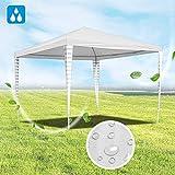 Hengda Pavillon 3x3m UV-Schutz Stabiles Gartenpavillon Material PE-Plane weiß Partyzelt ohne Seitenteilein für Garten Terrasse Markt Camping Festival