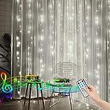2M X 2M Luces de cortina navideñas con pilas/control remoto Luces de hadas para ventanas Luces de cuerda de carámbano Función de ritmo musical para decoración interior y exterior (blanco)