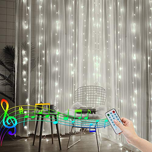 CORST Tenda Luminosa 2x2m Natale Tenda Luci Funziona a batteria Luci per Tende con Telecomando Luce di sincronizzazione della musica attivata dal suono per Esterni, Camera da Let to, Giardino(Bianco)
