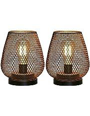 JHY Design Set van 2 metalen kooi tafellamp