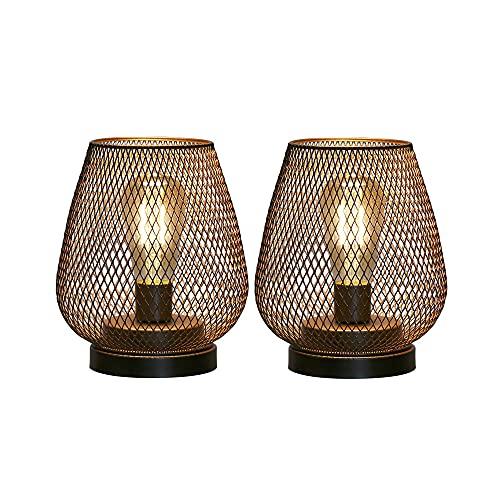 JHY DESIGN Set mit 2 Tischlampe Batteriebetrieben Kabellose Tischleuchte mit LED Glühbirne Metall Nachttischlampe Designer Batterie Lampe für Hochzeiten Partys Innen Wohnzimmer Garten Balkon Draußen